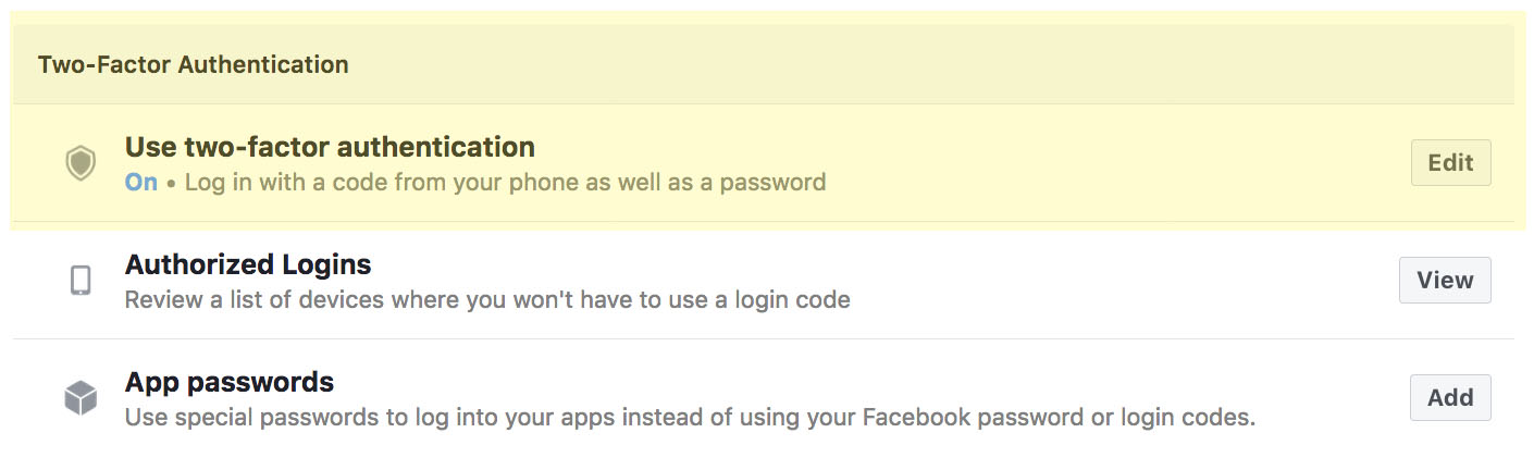 Facebook 2 Factor Authentication